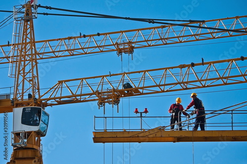 Worker on the top of a crane