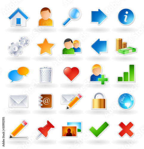 Set of 25 colored icons for websites and online communities