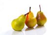 Drei Birnen auf weißem Hintergrund / Three Pears on a white back
