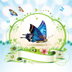 Blue butterfly with flowers and ribbon