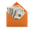 Money in an orange envelope