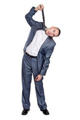 Businessman hanged by necktie