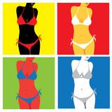 bikini in popart style - illustration poster