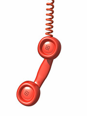 3d Red telephone handset hangs from its wire