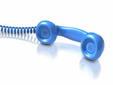 3d Blue telephone handset lies on the desk