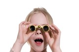 little girl with binoculars isolated on white background