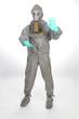 Arbeiter im Strahlenschutz Anzug nach Gau im Atomkraftwerk