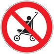 Zeichen Kinderwagen auf Rolltreppe verboten