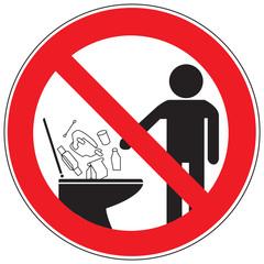 Zeichen Gegenstände in die Toilette werden verboten