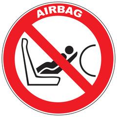 Zeichen Anbringen Kindersitzes auf Airbag-gesichertem Sitz