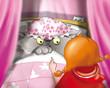 canvas print picture - Lupo Cattivo con Cappuccetto Rosso a casa della nonna