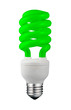 Green Saver Lightbulb Isolated on White Background