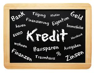 Kredit - Konzept Tafel Immobilie - freigestellt