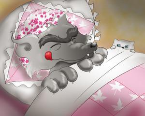 Lupo Cattivo travestito nel letto della nonna