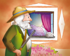 Il cacciatore arriva a casa della nonna di Cappuccetto Rosso