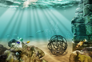 astronomy globe underwater
