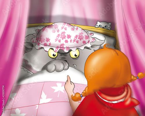 canvas print picture Lupo Cattivo con Cappuccetto Rosso a casa della nonna