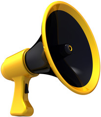 Megaphone propaganda. Stylish loudspeaker black yellow