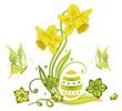 Ostern, Ostereier, Frühling, Osterglocken, Grüntöne