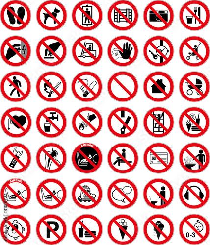 Verbotszeichen Set 3