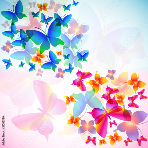 Fototapeta Colorful background with butterfly