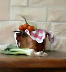 porri e pomodori ciliegini dipinti