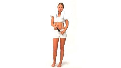 Blonde woman in sportswear