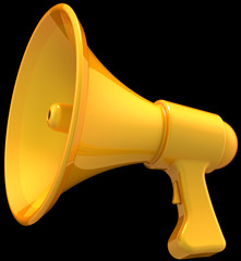 Megaphone news announce icon. Shiny yellow loudspeaker
