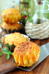 Just baked pumpkin-cheese muffins.