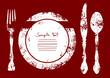 Cutlery With Plate Red