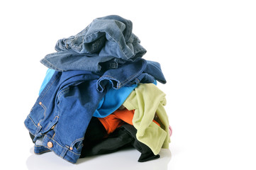 pile of clothes on white background