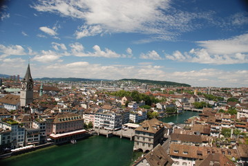 Zurich landscape from the Grossmünster belltower