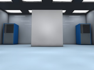 Room with servers and blank box