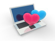 Rendered Concept Of A Laptop With Love Hearts.