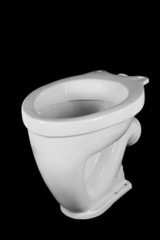 The ltoilet bowl, isolated on black background