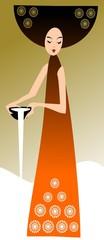 Mleczna. Ilustracja- kobieta z misą mleka