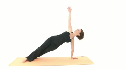 Yoga Asana in sequence: Side Plank, Downward Facing Dog