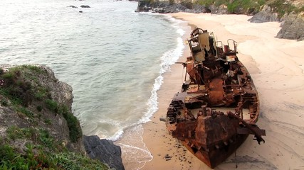 Fishing boat stranded in a portuguese beach
