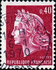 Marianne, République française, timbre postal. 1970