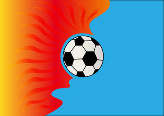 background with burning soccer ball