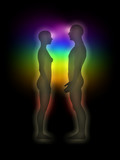 Woman and man silhouette with aura, chakras, energy - profile poster