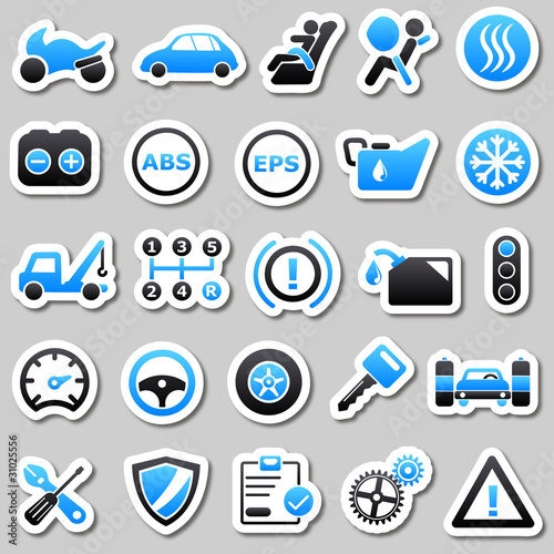Automotive Blue Stickers