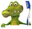Crocodile et brosse à dents