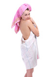 girl in a sheet with a towel on a head