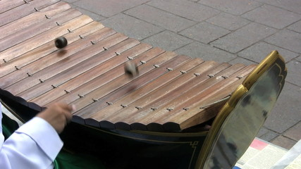Asian Boy Playing A Wooden Xylophone