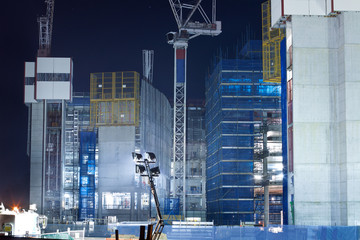 screen system on the construction building at night