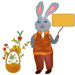 Cute hare holding banner and basket with flowers