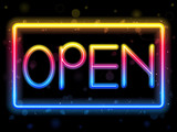 Open Neon Sign Rainbow Color