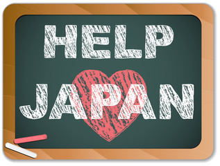 Japan Love on Blackboard. Earthquake and Tsunami Design