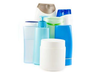 Hair care bottles isolated on white